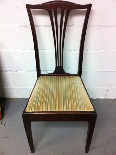 dining chair before reupholstery